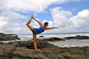 Ashley doing yoga in Brazil