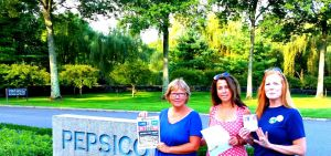 3 NY moms holding open letter to PepsiCo CEO Ms. Indra Nooyi at PepsiCo Global HQ in Purchase, NY
